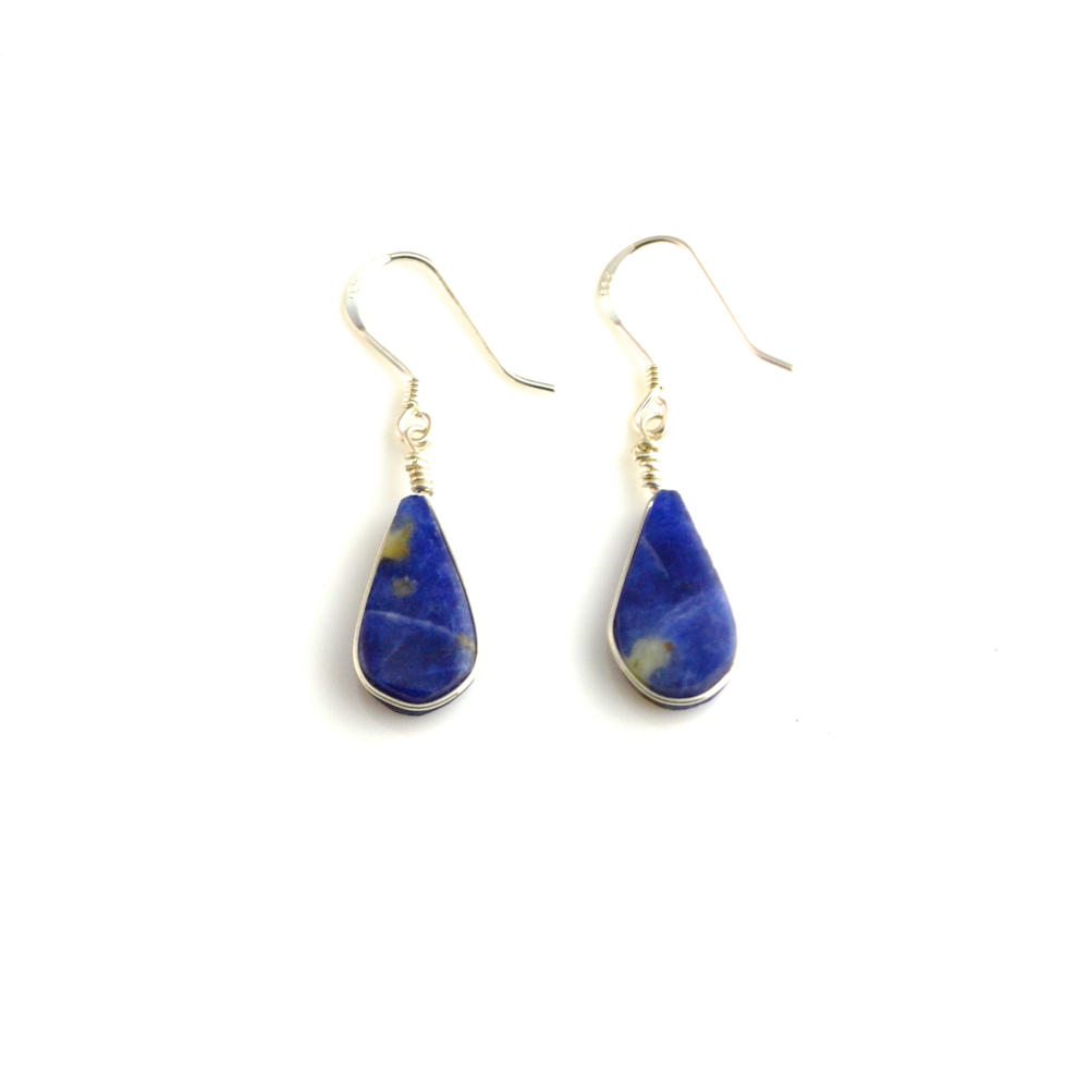 Silver Earrings with Sodalite Stones by Coco Paniora Salinas of Rumi Sumaq