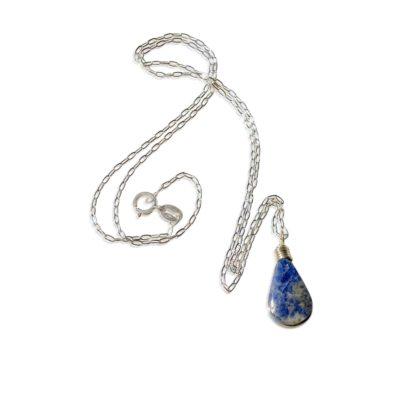 Sodalite Silver Necklace by RUMI SUMAQ - Handmade Indigo Blue Stone Pendant Necklace - Sodalite Sterling Silver Jewelry