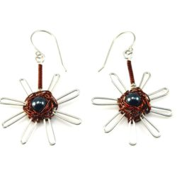 Silver and copper wirework Q'isa nest earrings