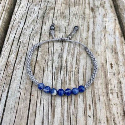 Sodalite Beaded Bracelet with Gray Hand-Knotted Waxed Cord for Men and Women | RUMI SUMAQ Gemstone Sailor Rope Bracelets