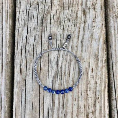 Sodalite Beaded Bracelet with Gray Hand-Knotted Cord for Men and Women | RUMI SUMAQ Gemstone Rope Bracelets