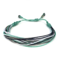 String Surfer Bracelet Aqua Navy Grey White by Rumi Sumaq: Rumi Sumaq Surfer Bracelets Handmade on Martha's Vineyard