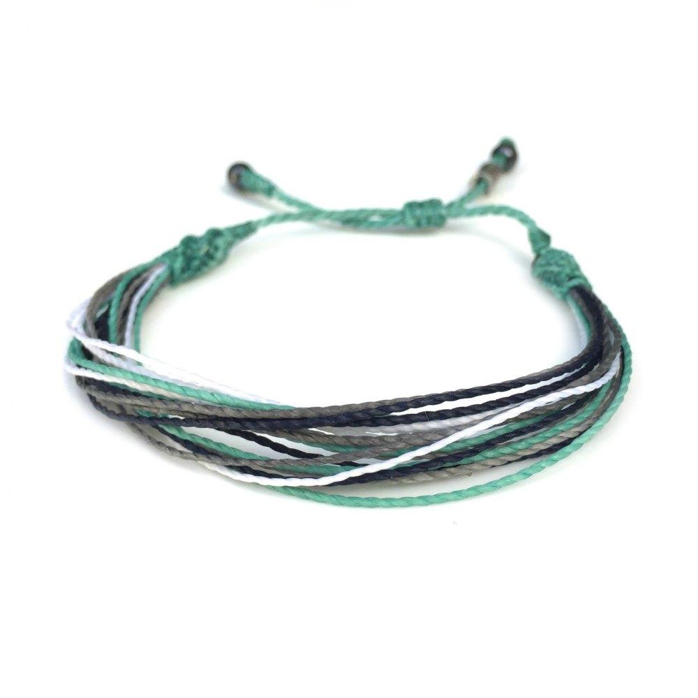 String Surfer Bracelet Aqua Navy Grey White by Rumi Sumaq: Rumi Sumaq Surfer Bracelets Handmade on Martha's Vineyard
