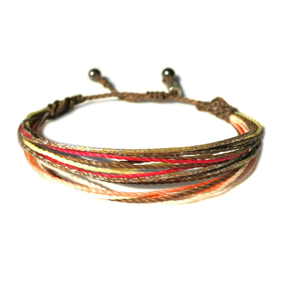 String Surfer Bracelet Brown C Hot Pink Off White And Metallic Yellow Handmade On Martha S