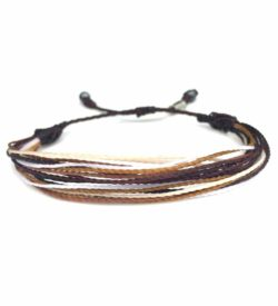 String Surfer Bracelet Brown White by Rumi Sumaq: Rumi Sumaq Surfer Bracelets Handmade on Martha's Vineyard