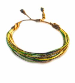 String Surfer Bracelet Green Tan Yellow and Purple: Handmade on Martha's Vineyard Waxed Cord Sailor and Surf Bracelets by Rumi Sumaq