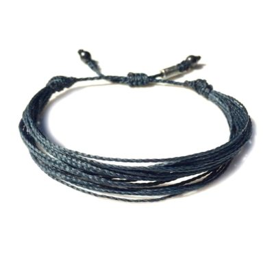 String Surfer Bracelet Navy with Hematite Stones for Men and Women: RUMI SUMAQ sailor and surfer bracelets handmade on Martha's Vineyard.