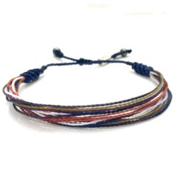 String Surfer Bracelet in Navy Brown Rust Orange Multi: Handmade Drawstring Waxed Cord Surfer Bracelets by Rumi Sumaq