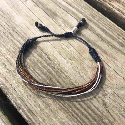 String Surfer Bracelet in Navy Brown Rust Orange   RUMI SUMAQ Jewelry