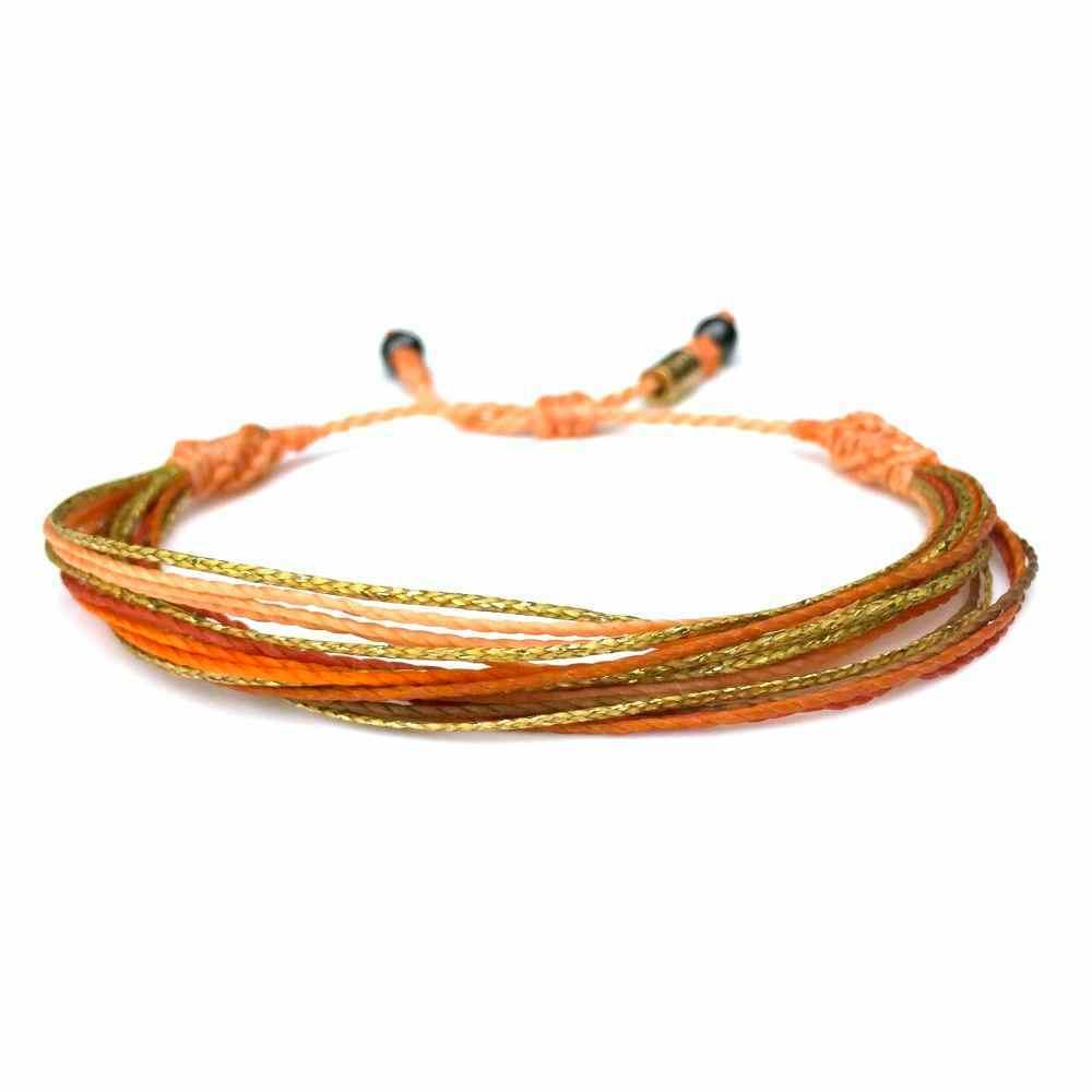 String Surfer Bracelet Orange Multi - Rumi Sumaq Surfer Bracelets Handmade on Martha's Vineyard