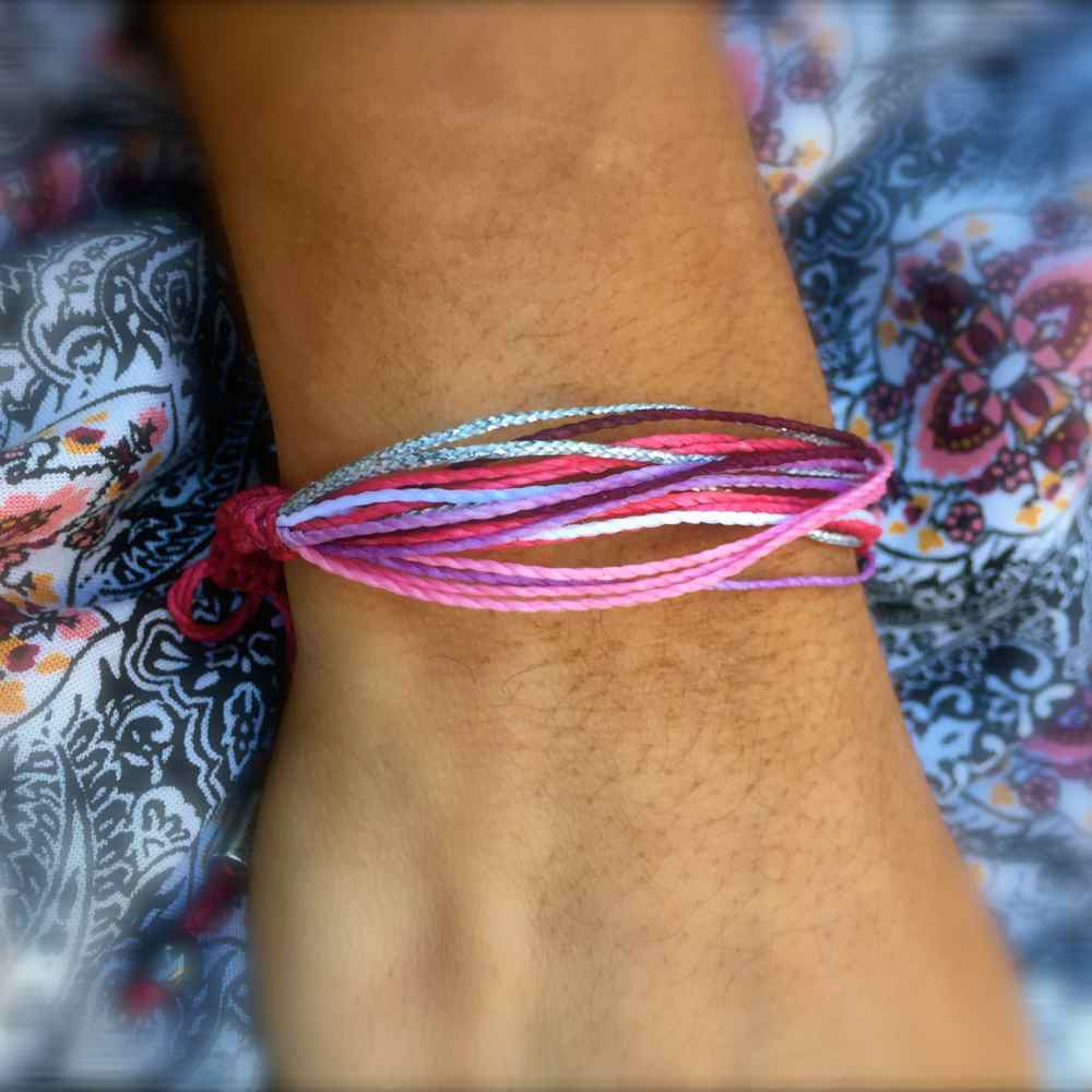 String Surfer Bracelet Pink Purple Metallic Silver Multi: Hand-Knotted Waxed Cord Sailor and Surfer Bracelets Handmade on Martha's Vineyard