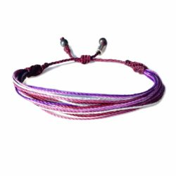 String Surfer Bracelet Purple Metallic Silver Multi: Hand-Knotted Waxed Cord Sailor and Surfer Bracelets Handmade on Martha's Vineyard