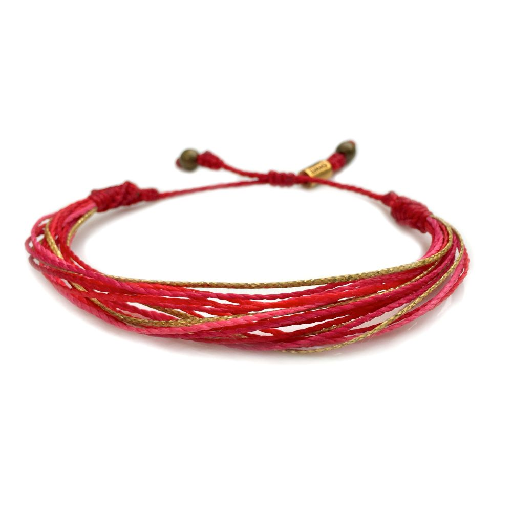 String Surfer Bracelet Red Gold Hot Pink: Hand-Knotted Waxed Cord Sailor and Surfer Bracelets Handmade on Martha's Vineyard