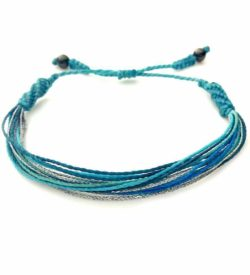 String Surfer Bracelet Aqua Silver by Rumi Sumaq: Rumi Sumaq Surfer Bracelets Handmade on Martha's Vineyard