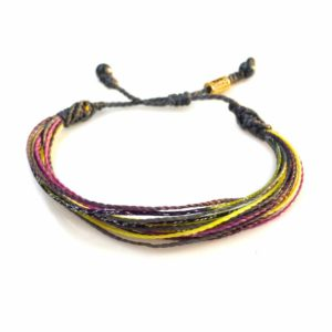 String Surfer Bracelet Violet Grey Yellow and Purple: Handmade on Martha's Vineyard Waxed Cord Sailor and Surf Bracelets by Rumi Sumaq