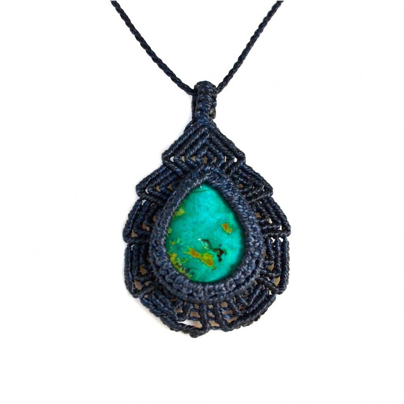 Hand-knotted Supay macrame necklace with Chrysocolla stone by designer Coco Paniora Salinas of Rumi Sumaq