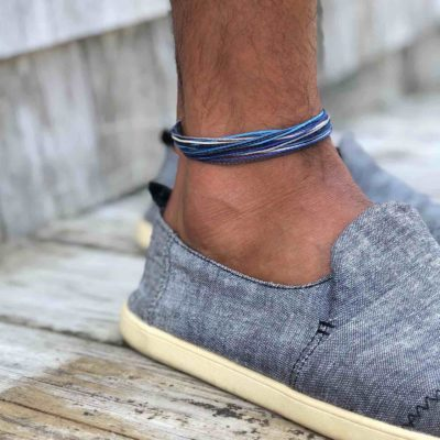 Man Anklet Blue Gray | RUMI SUMAQ Men's Beach Anklets
