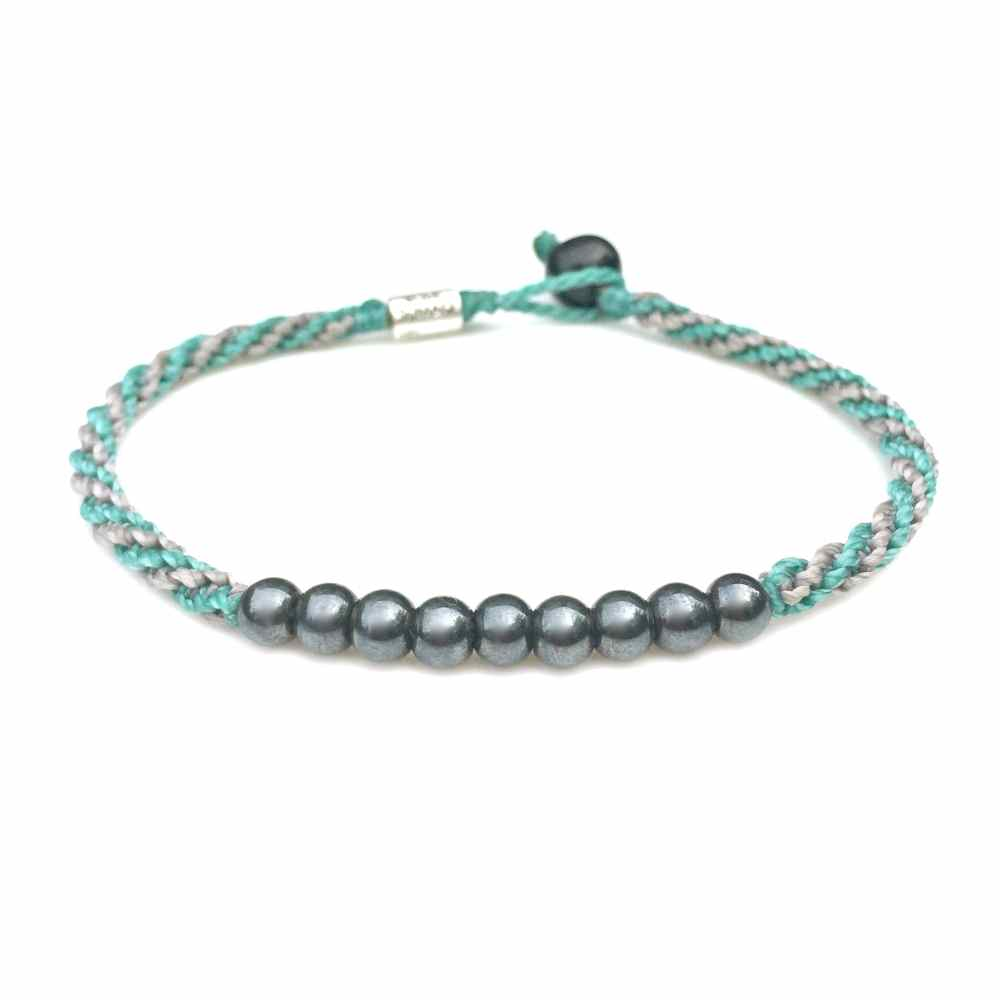 Surfer Anklet Aqua Gray Rope with Beaded Hematite Stones: Rumi Sumaq Jewelry Handmade on Martha's Vineyard