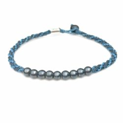 Surfer Anklet Navy Blue Rope with Beaded Hematite Stones: Rumi Sumaq Jewelry Handmade on Martha's Vineyard