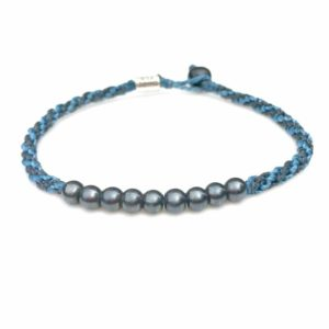 Surfer Anklet Navy Blue Rope with Beaded Hematite Stones: Rumi Sumaq Jewelry Handmade on Martha's Vineyard
