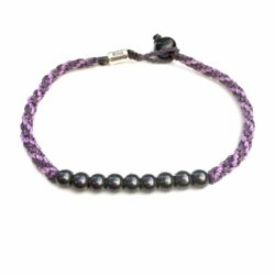 Surfer Anklet Violet Purple Rope with Beaded Hematite Stones: Rumi Sumaq Jewelry Handmade on Martha's Vineyard