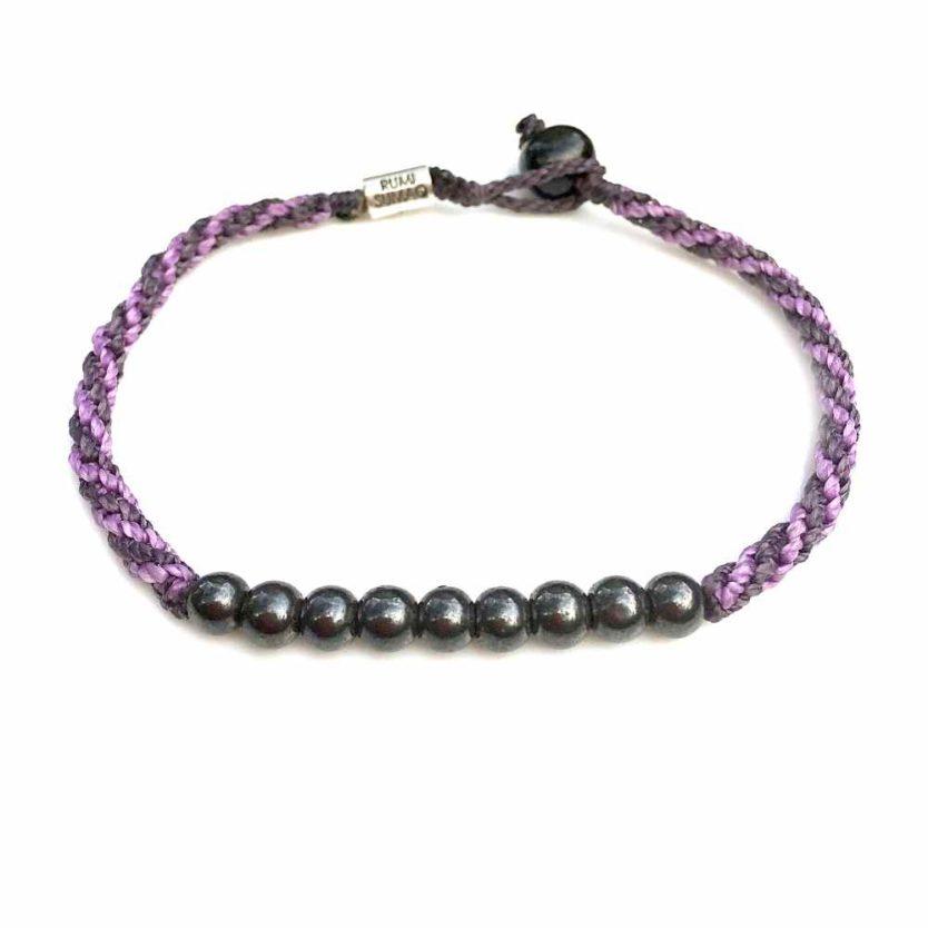 Surfer Anklet Violet Purple Rope with Beaded Hematite Stones: Rumi Sumaq Jewelry Handmade on Martha's Vineyard