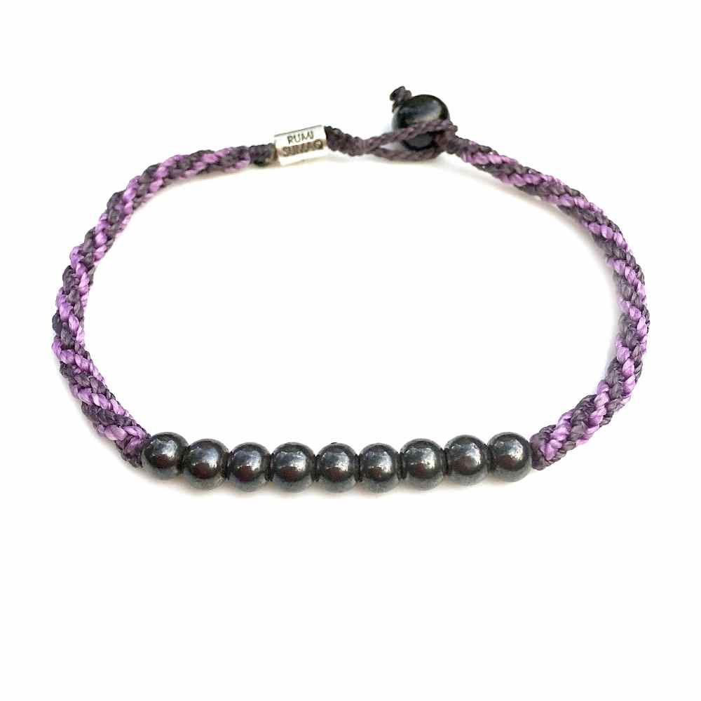Beaded Anklet Sailor Rope Violet Purple with Beaded Hematite Stones: Rumi Sumaq Jewelry Handmade on Martha's Vineyard