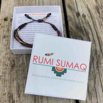 Surfer Bracelet in Violet Gold Orange Multi by Designer Coco Pandora Salinas of RUMI SUMAQ. Handmade on Martha's Vineyard.