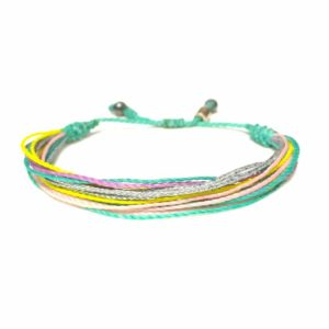 RUMI SUMAQ String Surfer Bracelet Aqua Yellow Pink Purple and Silver: Handmade on Martha's Vineyard