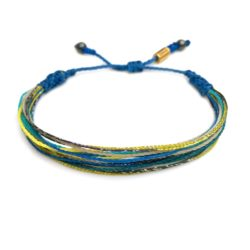 Surfer string bracelet blue yellow aqua multi with Hematite stones by Rumi Sumaq