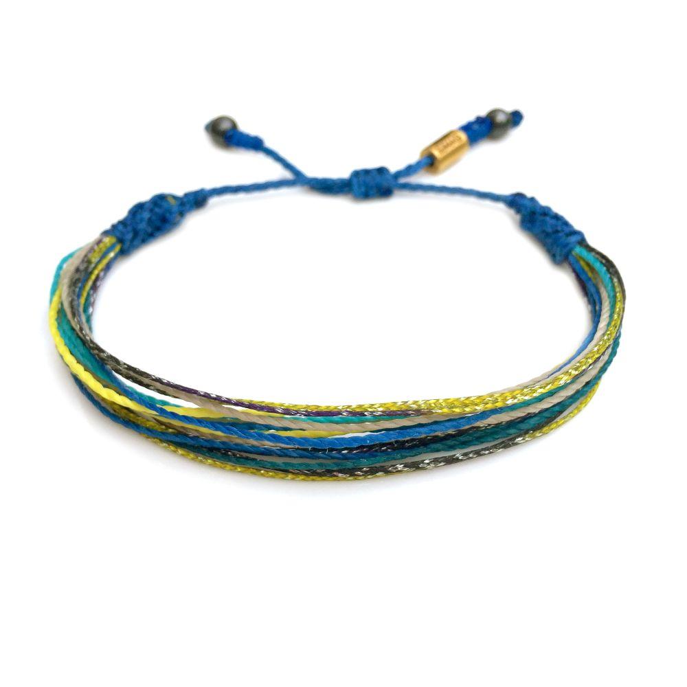 Surfer string bracelet blue yellow aqua multi with Hematite stones by Rumi Sumaq