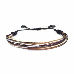 String Surfer Bracelet Brown Tan and White with Hematite Stones for Men and Women: RUMI SUMAQ sailor and surfer bracelets handmade on Martha's Vineyard.