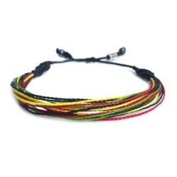 Surfer String Bracelet Rasta Colors: RUMI SUMAQ sailor knot jewelry handmade on Martha's Vineyard