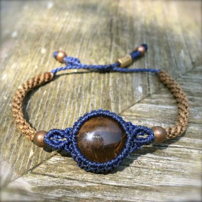 Tigers Eye Bracelet Macrame in Blue and Brown Waxed Cord | Hand-Knotted Bohemian Macrame Jewelry by Designer Coco Paniora Salinas of RUMI SUMAQ