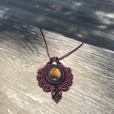 Tigers Eye Macrame Necklace Pendant Boho Style by Designer Coco Paniora Salinas of RUMI SUMAQ Jewelry. Handmade on Martha's Vineyard.