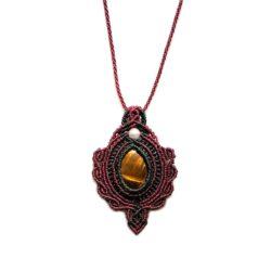 Tigers Eye Macrame Necklace Pendant Boho Style by Designer Coco Paniora Salinas of RUMI SUMAQ Jewelry. Handmade on Martha's Vineyard.