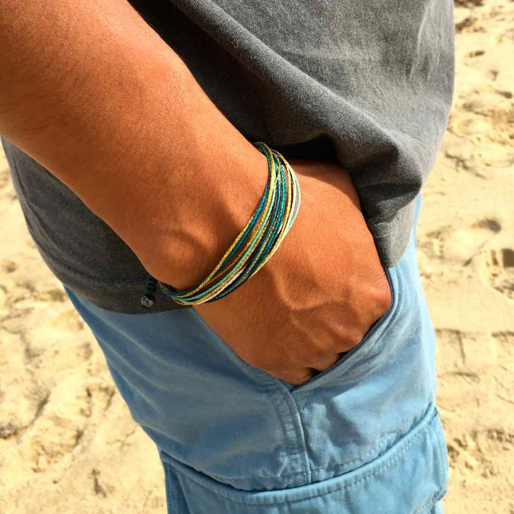 String Surfer Bracelet in Turquoise Gold by Rumi Sumaq: Rumi Sumaq Surfer Bracelets Handmade on Martha's Vineyard