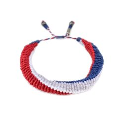 USA Bracelet Red White and Blue Hand-Knotted Sailor Rope Bracelet | Rumi Sumaq Nautical Jewelry Handmade on Martha's Vineyard