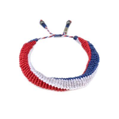 USA Bracelet Red White and Blue Hand-Knotted Sailor Rope Bracelet | Rumi Sumaq Nautical Jewelry Handmade on Martha's Vineyard