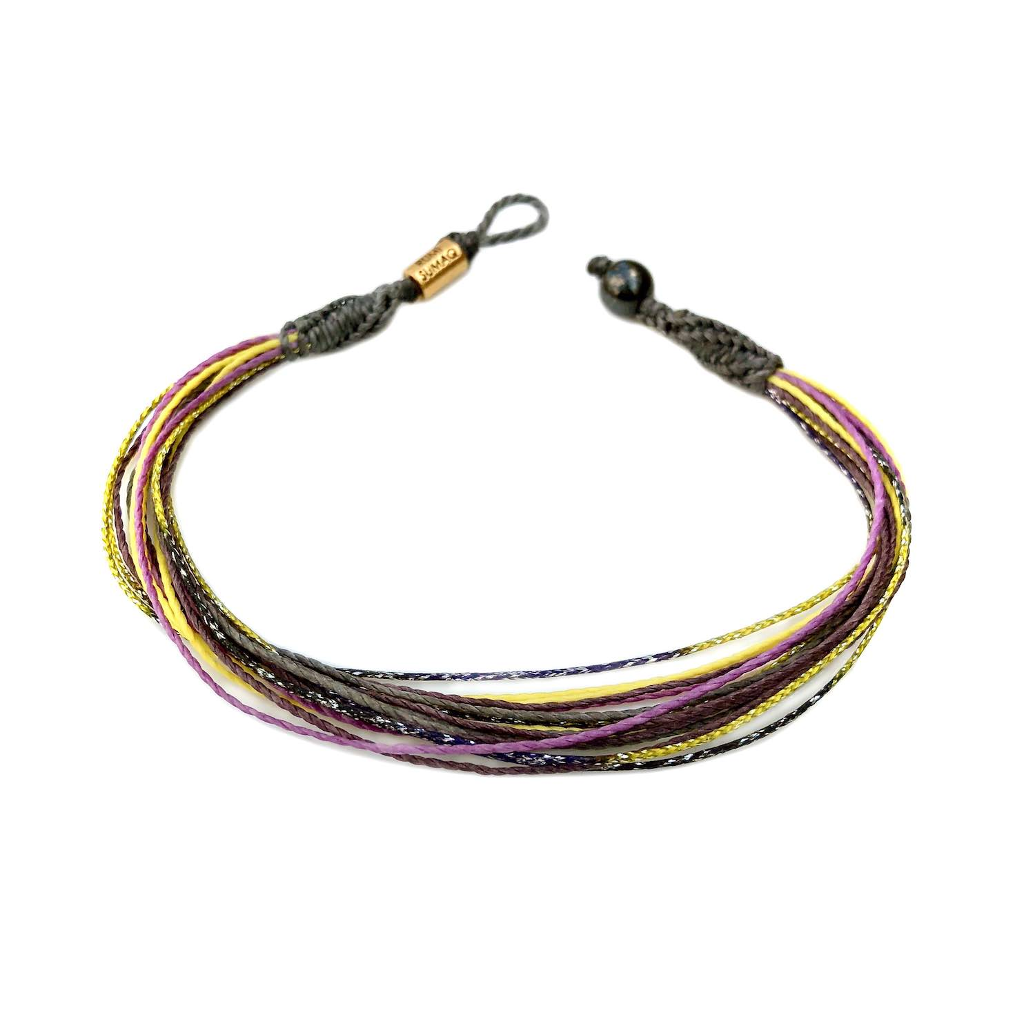 Waterproof anklet in gray, yellow, purple and metallic gold | Rumi Sumaq handmade ankle bracelets