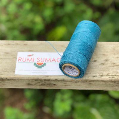 Waxed Thread Bobbin Linhasita 229 Aqua Blue waxed Polyester Cord 1mm | RUMI SUMAQ Linha Encerada