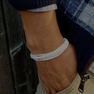 White awareness bracelet for lung cancer and other important causes that uses the white ribbon by RUMI SUMAQ jewelry