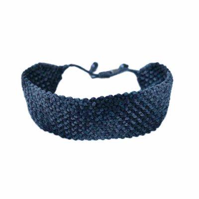 Woven Bracelet for Men in Navy Charcoal Gray | Rumi Sumaq Handwoven Macrame Bracelets