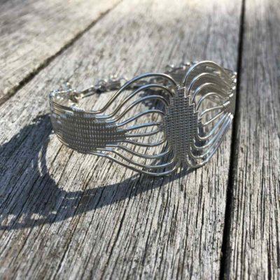 Woven Silver Bracelet | RUMI SUMAQ art jewelry handmade by designer Coco Paniora Salinas on the beautiful island of Martha's Vineyard