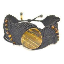Yana black macrame bracelet with Tiger's Eye stones by designer Coco Paniora Salinas of Rumi Sumaq