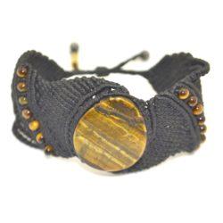 Yana black macrame bracelet with Tiger's Eye stones by designer Coco Paniora Salinas of Rumi Sumaq